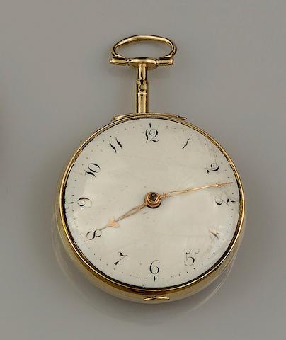 John Nodes, Nottingham: A gilt metal open face key wind pocket watchCirca 1750