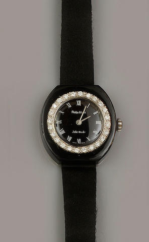 Philip Watch: A diamond and onyx wristwatch