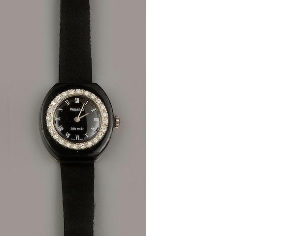 Philip Watch: A diamond and onyx wristwatch