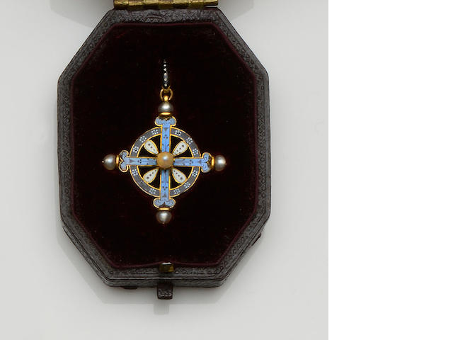 Carlo Giuliano: A Renaissance Revival enamel and pearl cross pendant