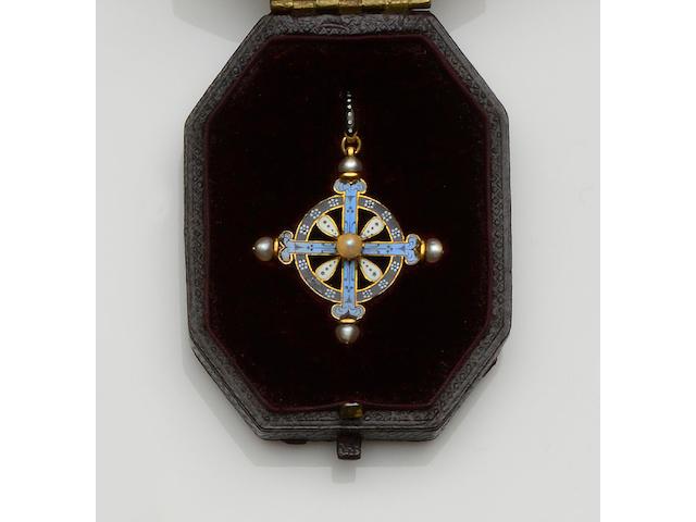 Carlo Giuliano: A Renaissance Revival enamel and pearl cross pendant