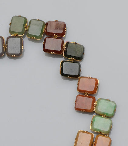A vari-coloured jade panel bracelet