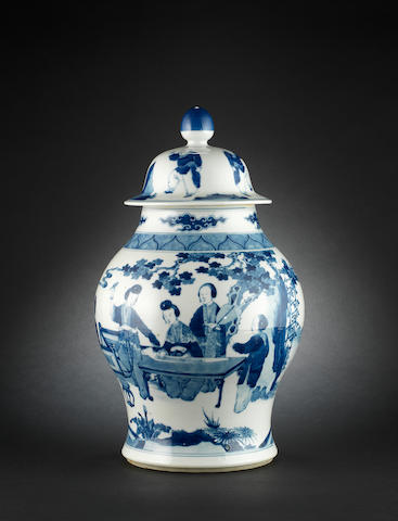 A 19th century Chinese blue and white baluster vase and cover