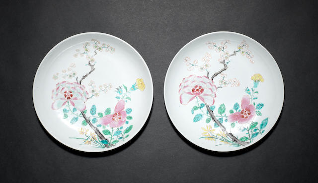 A pair of 18th century Chinese famille rose dishes