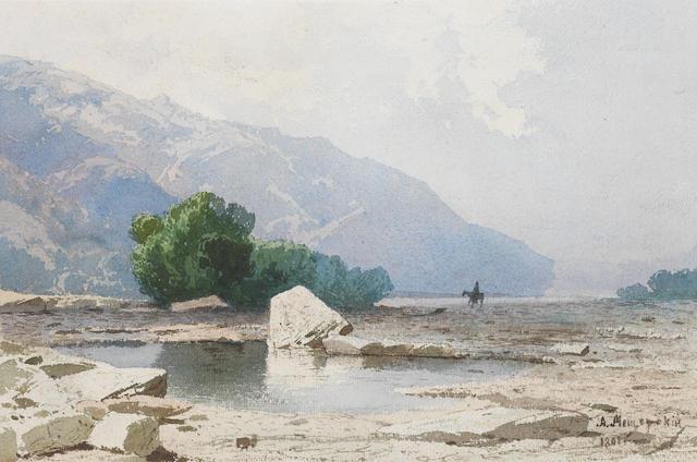 Arseniy Ivanovich Meshchersky (Russian, 1834-1902) Mountainous landscape