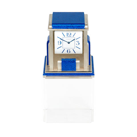 A late 20th century French silver plated and 'lapis lazuli' enamel Pendule Mysterieuse Prisme Cartier