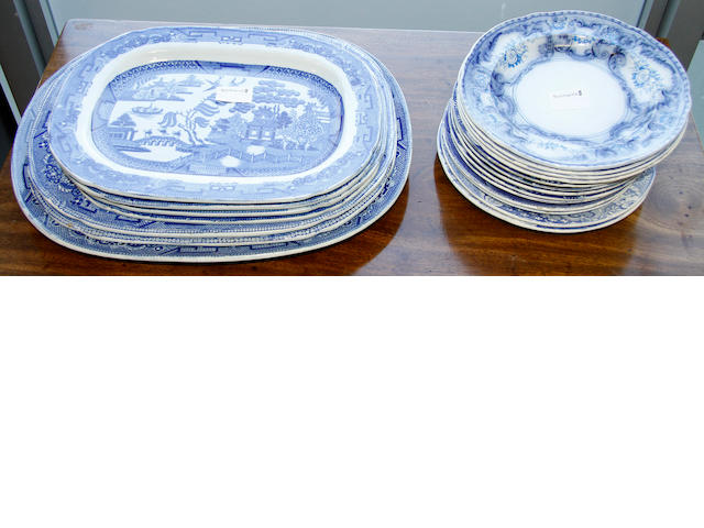 A collection Staffordshire blue and white trasfer pottery,