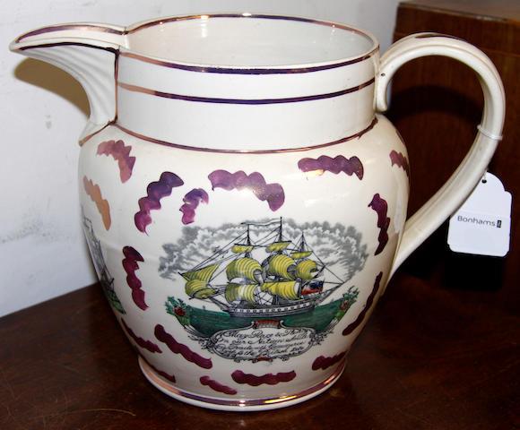 A large Sunderland, lustre type, maritime jug,