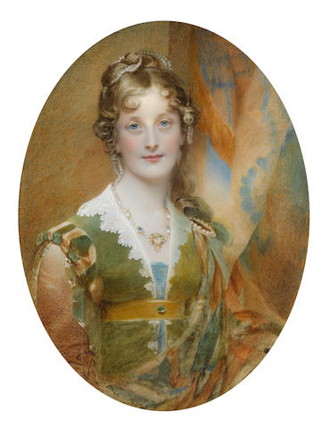 Sir William Charles Ross (British, 1794-1860) Jane Digby, Lady Ellenborough (1807-1881), seated before an aperture and hanging drapery, wearing India green dress with amber and green shoulder rolls, her jewelled sleeves slashed to reveal amber, her neckline edged with white lace, teal underdress, a burnt orange, teal and sea green stole pinned at her left shoulder with a pearl brooch, saffron jewelled sash, sapphire and emerald pendant necklace, her blonde hair partially curled and upswept, dressed with strands of pearls (cracked)