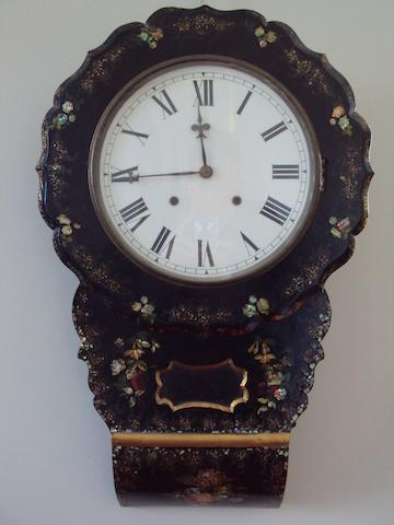 A Victorian lacquered wall clock