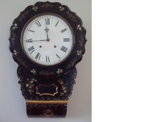 A Victorian lacquered wall clock (Val-319012/5)
