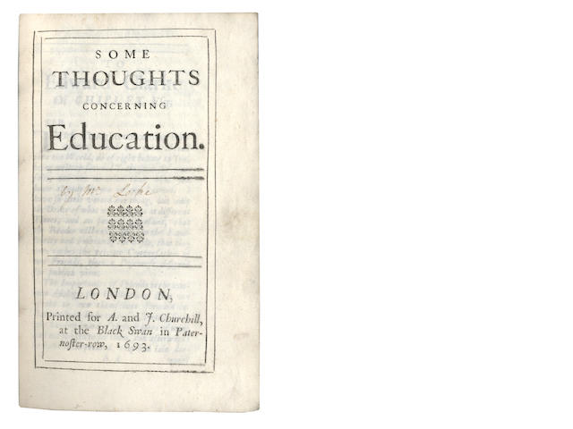 LOCKE (JOHN)] Some Thoughts Concerning Education, 1693