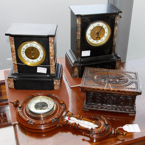 Two slate mantel clocks, a small aneroid barometer, an oak box and a paper mache pot