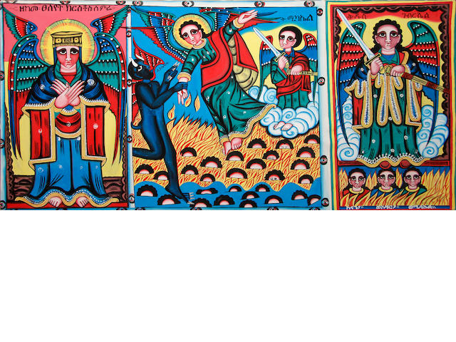 An Ethiopian triptych and four coptic metalware crosses