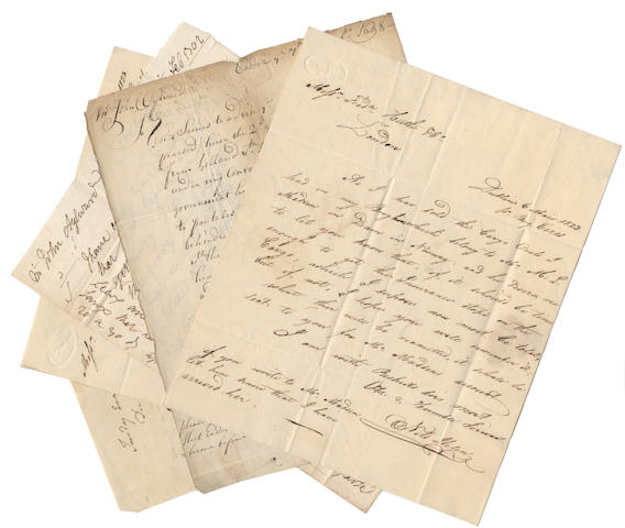 IRELAND. Collection of manuscripts, comprising four letters from the correspondence of the merchant and banker John Aylward, with one to his widow (1698-1702 and 1711); with further letters by a Liverpool merchant etc.