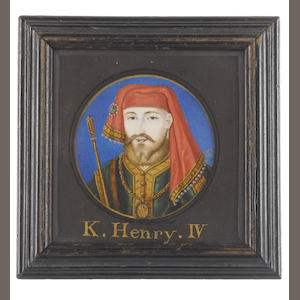Bernard Lens (British, 1682-1740) Henry IV (1367-1413), King of England and Lord of Ireland, wearing emerald green tunic edged with gold and brown fur, white linen shirt edged with gold, gold ceremonial chain bearing the Plantagenet armorial lion, jewelled red chaperon edged with gold and pearls, he carries a sceptre under his right arm, painted against a blue ground with gold border