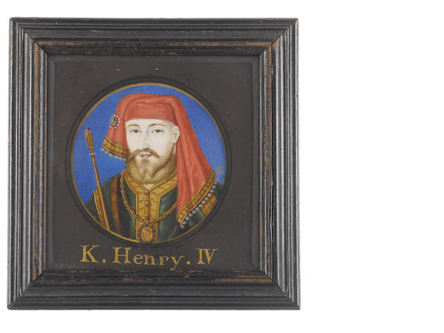 Bernard Lens (British, 1682-1740) Henry IV (1367-1413), King of England and Lord of Ireland (1399-1413), wearing emerald green tunic edged with gold and brown fur, white linen shirt edged with gold, gold ceremonial chain bearing the Plantagenet armorial lion, jewelled red chaperon edged with gold and pearls, he carries a sceptre under his right arm, painted against a blue ground with gold border
