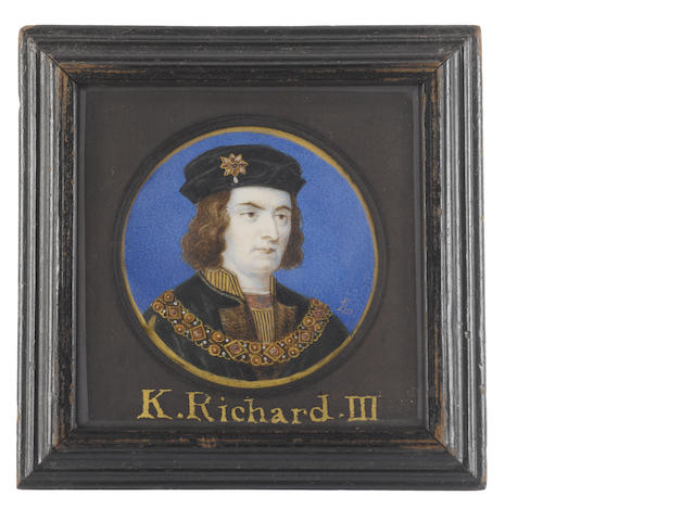 Bernard Lens (British, 1682-1740) Richard III (1452-1485), the last Plantagenet King of England (1483-1485), wearing dark green Houppelande edged with brown fur and slashed at the sleeve to reveal brown doublet striped with gold, white linen shirt, black cap with teardrop pearl suspended from a gold jewelled clasp, matching jewelled collar worn over his Houppelande, painted against a blue ground with gold border