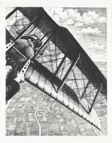 Christopher Richard Wynne Nevinson A.R.A. (British, 1889-1946) Banking at 4000 feet (Leicester Galleries 23) Lithograph, 1917, a crisp impression with strong contrasts, on watermarked Holbein wove, signed, dated and numbered 17 in pencil, from the edition of 200, as included in 'Building the Aircraft', printed by Ernest Jackson, published by the Stationary Office as part of the series 'The Great War: Britain's Efforts and Ideals', with margins, 402 x 315mm (16 x 12 1/2in)(I)
