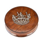 A George III carved fruitwood and silver mounted snuff box