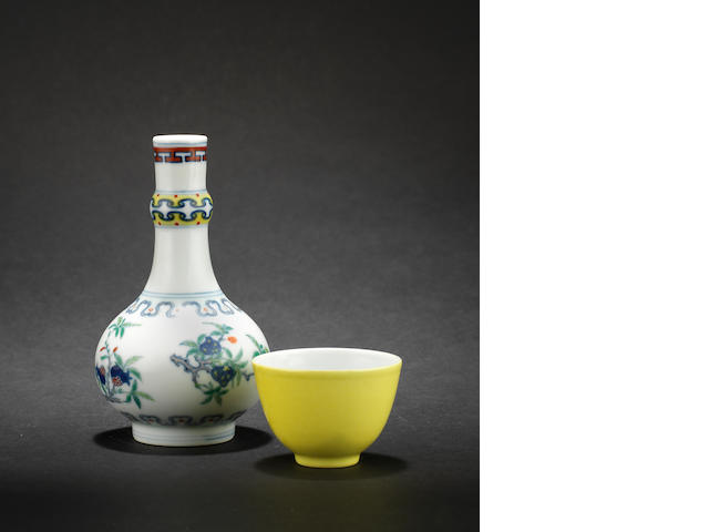 A small doucai bottle vase Yongzheng six-character mark