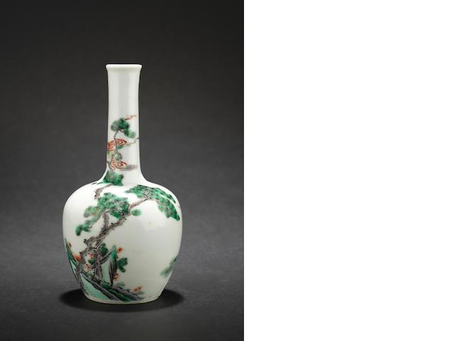 A small famille verte bottle vase Kangxi six-character mark