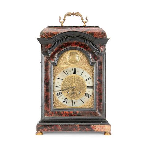 A 19th century tortoiseshell and ebonised bracket clock in the 18th century Dutch style