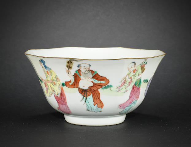 A famille rose, octagonal bowl Daoguang six-character mark