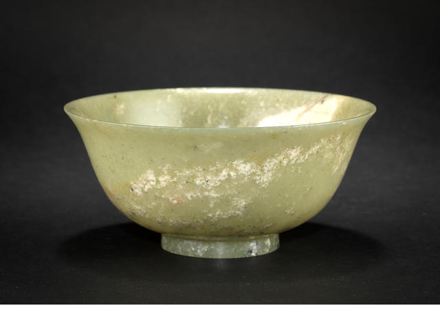 A mottled jade bowl Qianlong six-character mark