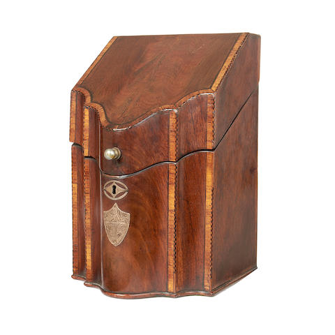 A small George III mahogany and crossbanded knife box