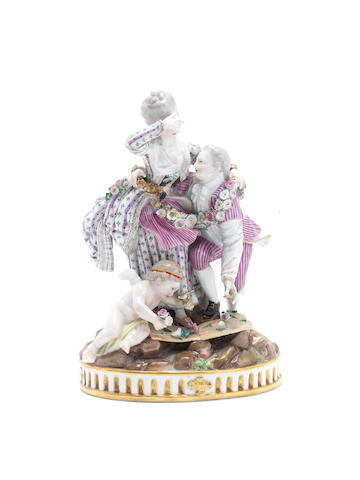 A Meissen figure group of the 'Broken Bridge', late 19th century