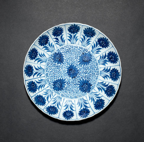 An 'Aster Pattern' blue and white, saucer dish Kangxi, Chenghua six-character mark