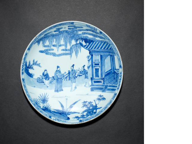 A blue and white saucer dish Yongzheng six-character mark