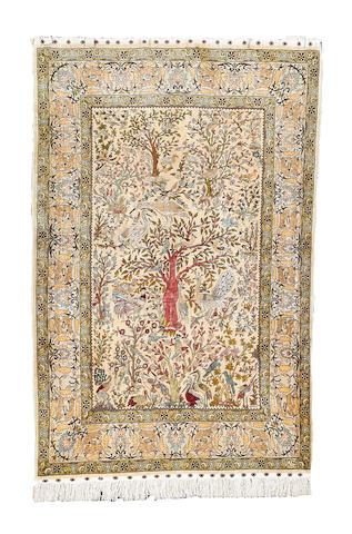 A Hereke silk rug, West Anatolian, 177cm x 117cm