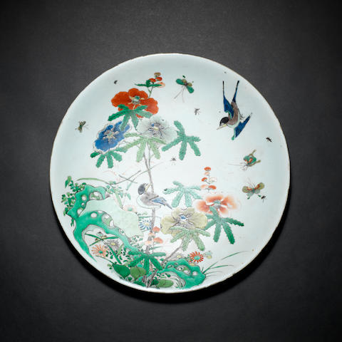 A large famille verte saucer dish