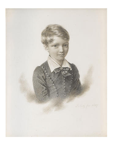 Johannes Notz (Swiss, 1802-1862) Henry Danby Seymour MP (1820-1877) as a child, wearing dark jacket edged with buttons, white chemise with poet collar, dark ribbon bow necktie, his hair parted to one side