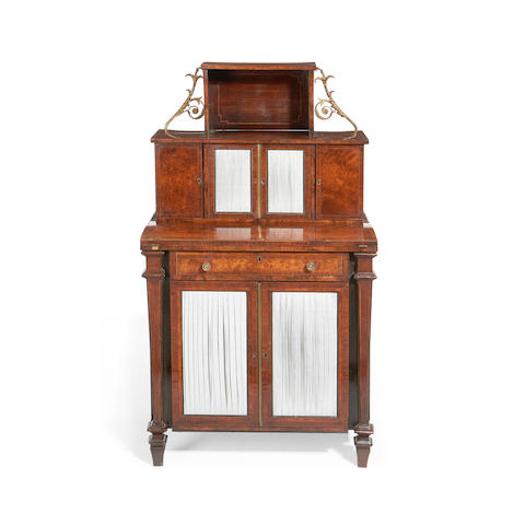 A Regency burr oak and rosewood banded secretaire cabinet