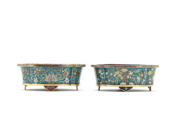 Two cloisonné enamel jardinières 18th/19th century