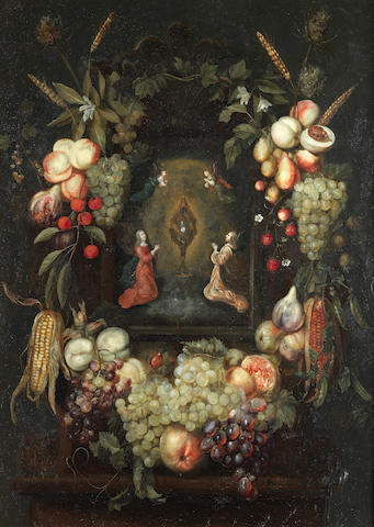 Frans Ykens (1601-1693) A garland of fruit surrounding a niche with angels worshipping the monstrance