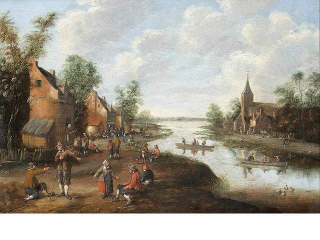 Cornelis Droochsloot (Utrecht 1640-circa 1673) An extenisve river landscape with peasants in a village, a church beyond