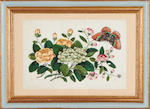 A set of twelve 19th century Chinese rice paper paintings of flowers and butterflies