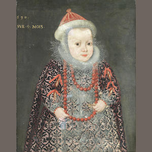 French School, 16th Century Portrait of a young girl, three-quarter-length, in a patterned dress and white lace collar unframed