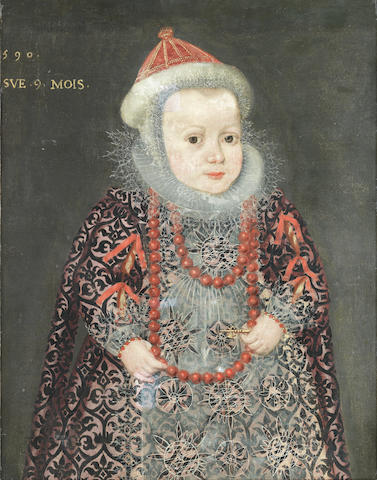 French School, 16th Century Portrait of a young girl, three-quarter-length, in an embroidered dress and white lace collar unframed