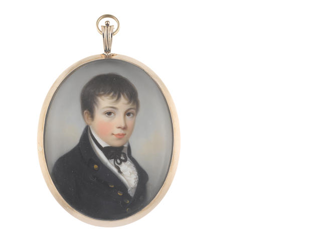 James Leakey (British, 1773-1865) A Young Midshipman, wearing dark blue coat, white waistcoat, chemise and frilled cravat, black stock and ribbon necktie
