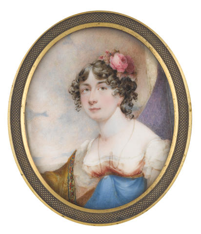 Andrew Robertson, MA (Scottish, 1772-1845) A Lady, called Mrs Mary Maclive, seated before an aperture, wearing dress with white capped sleeves and lace underslip, burnt orange bodice and royal blue skirt, pendant gold necklace pinned to her bodice with a brooch, an olive green shawl edged with border of embroidery draped over her left arm, her dark hair parted, curled, upswept and dressed with a pink rose