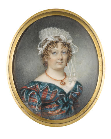 Miss Charlotte Thicke (active 1802-1846) A Lady, wearing blue and red tartan dress edged with crenellated green trim, white underslip, gold pendant necklace and coral pendent earrings, her hair tightly curled and upswept beneath a white lace mob cap, trimmed with ribbon and tassels