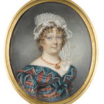 Miss Charlotte Thicke (active 1802-1846) A Lady, wearing blue and red tartan dress edged with crenellated green trim, white underslip, gold pendant necklace and red pendent earrings, her hair elaborately curled and upswept beneath a white lace mob cap, trimmed with tassels