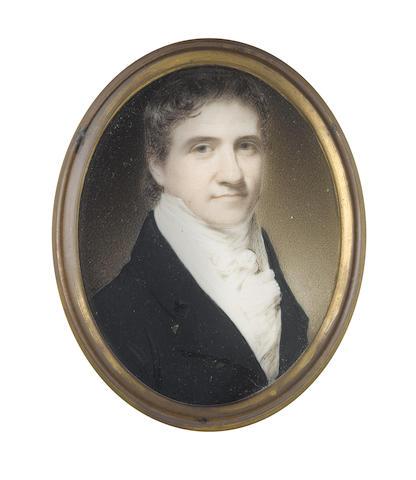 George Patten ARA (British, 1801-1855) Alexander Maxwell Robertson (1794-1835), wearing dark blue coat, white waistcoat, frilled chemise, stock and tied cravat