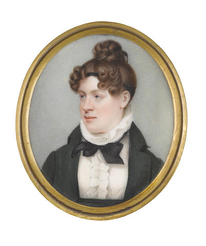 T. J. Horsley (British, b. circa 1755) A Lady, wearing dark green coat and waistband, white high-necked dress with frills to her bodice and tiered collar, black ribbon necktie, her brown hair parted at the front and curled over a fine black ribbon bandeau, the back plaited and upswept into a knot upon her head before a tortoiseshell comb