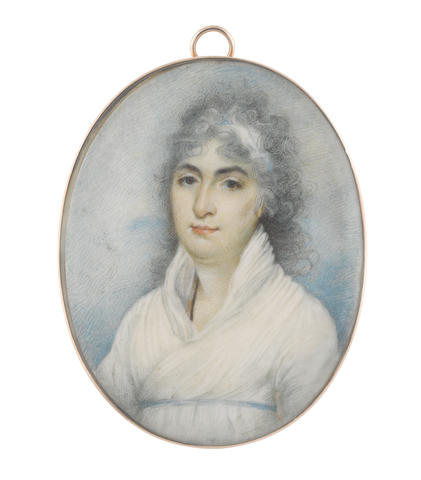 Attributed to George Chinnery RHA (British, 1774-1852) A Lady, called Miss Fletcher, wearing white dress, narrow sky blue ribbon waistband, a black cord suspended from her neck, her powdered hair partially upswept and dressed with a white bandeau